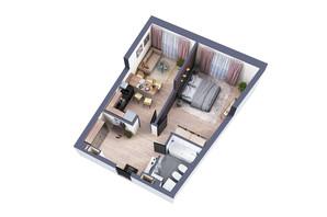 ЖК Greenville Park Kyiv: планировка 1-комнатной квартиры 54.3 м²
