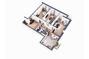 ЖК Greenville Park Kyiv: планировка 3-комнатной квартиры 115.9 м²