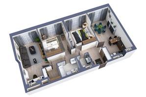 ЖК Greenville Park Kyiv: планировка 3-комнатной квартиры 93.4 м²