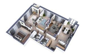 ЖК Greenville Park Kyiv: планировка 4-комнатной квартиры 129.9 м²