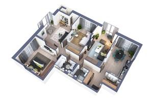 ЖК Greenville Park Kyiv: планировка 4-комнатной квартиры 132.5 м²