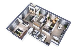 ЖК Greenville Park Kyiv: планировка 4-комнатной квартиры 127.7 м²