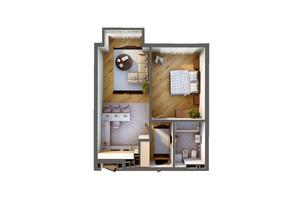 ЖК Greenville Park Kyiv: планування 1-кімнатної квартири 54.6 м²