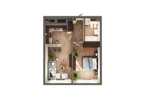 ЖК Greenville Park Kyiv: планування 1-кімнатної квартири 54.5 м²