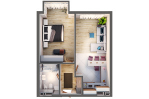 ЖК Greenville Park Kyiv: планування 1-кімнатної квартири 56.5 м²