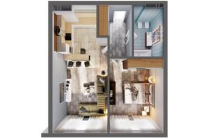ЖК Greenville Park Kyiv: планування 1-кімнатної квартири 55.3 м²