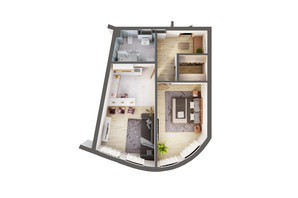 ЖК Greenville Park Kyiv: планування 1-кімнатної квартири 53.7 м²