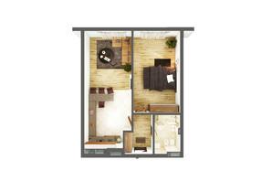 ЖК Greenville Park Kyiv: планування 1-кімнатної квартири 58.9 м²