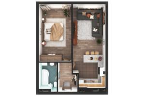 ЖК Greenville Park Kyiv: планування 1-кімнатної квартири 63.9 м²