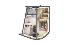 ЖК Greenville Park Kyiv: планування 1-кімнатної квартири 53.8 м²