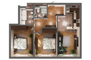 ЖК Greenville Park Kyiv: планування 2-кімнатної квартири 76.9 м²