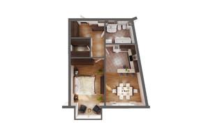ЖК Greenville Park Kyiv: планування 1-кімнатної квартири 52.2 м²