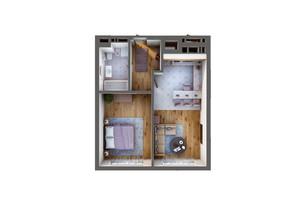 ЖК Greenville Park Kyiv: планування 1-кімнатної квартири 50.6 м²