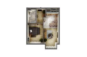ЖК Greenville Park Kyiv: планування 1-кімнатної квартири 53.4 м²