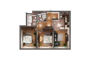 ЖК Greenville Park Kyiv: планування 2-кімнатної квартири 74 м²