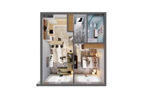 ЖК Greenville Park Kyiv: планування 1-кімнатної квартири 52.6 м²