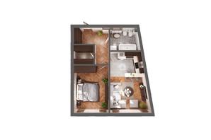 ЖК Greenville Park Kyiv: планування 1-кімнатної квартири 49.2 м²