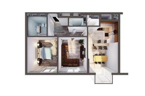 ЖК Greenville Park Kyiv: планування 2-кімнатної квартири 68.2 м²