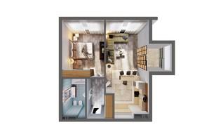 ЖК Greenville Park Kyiv: планування 1-кімнатної квартири 56.6 м²