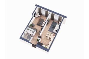 ЖК Greenville Park Kyiv: планування 1-кімнатної квартири 49.9 м²