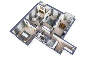 ЖК Greenville Park Kyiv: планування 3-кімнатної квартири 109.8 м²