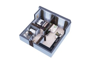 ЖК Greenville Park Kyiv: планування 1-кімнатної квартири 54.3 м²