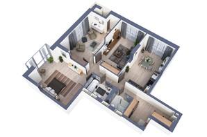 ЖК Greenville Park Kyiv: планування 3-кімнатної квартири 110.1 м²