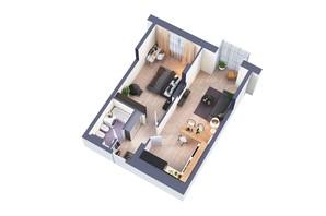 ЖК Greenville Park Kyiv: планування 1-кімнатної квартири 57.7 м²