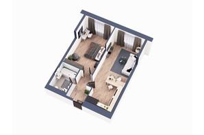 ЖК Greenville Park Kyiv: планування 1-кімнатної квартири 57.4 м²