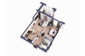 ЖК Greenville Park Kyiv: планування 1-кімнатної квартири 58.7 м²