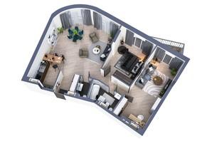 ЖК Greenville Park Kyiv: планування 3-кімнатної квартири 109.6 м²