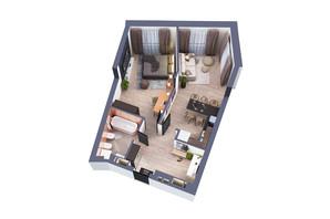 ЖК Greenville Park Kyiv: планування 1-кімнатної квартири 60.2 м²