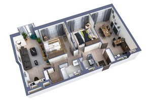 ЖК Greenville Park Kyiv: планування 3-кімнатної квартири 95.1 м²