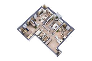 ЖК Greenville Park Kyiv: планування 3-кімнатної квартири 101.6 м²