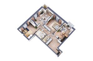 ЖК Greenville Park Kyiv: планування 3-кімнатної квартири 101.4 м²