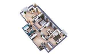 ЖК Greenville Park Kyiv: планування 3-кімнатної квартири 107.3 м²