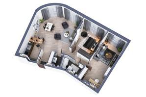 ЖК Greenville Park Kyiv: планування 3-кімнатної квартири 106.8 м²