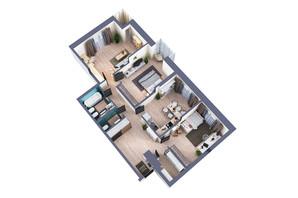 ЖК Greenville Park Kyiv: планування 3-кімнатної квартири 105.6 м²