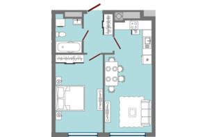 ЖК Greenville Park Lviv: планировка 1-комнатной квартиры 45.09 м²