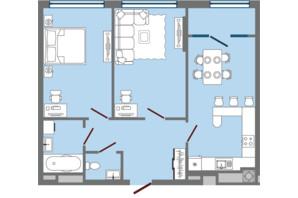 ЖК Greenville Park Lviv: планировка 2-комнатной квартиры 69.57 м²