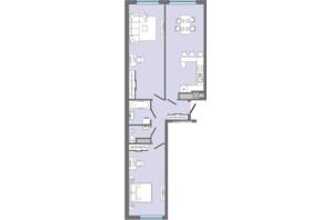 ЖК Greenville Park Lviv: планировка 2-комнатной квартиры 77.6 м²