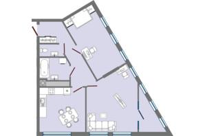 ЖК Greenville Park Lviv: планировка 2-комнатной квартиры 77.18 м²