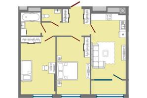 ЖК Greenville Park Lviv: планировка 2-комнатной квартиры 68.21 м²
