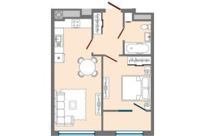 ЖК Greenville Park Lviv: планировка 1-комнатной квартиры 44.73 м²