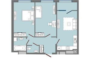 ЖК Greenville Park Lviv: планировка 2-комнатной квартиры 68.05 м²