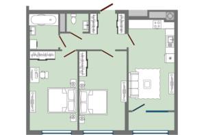 ЖК Greenville Park Lviv: планировка 2-комнатной квартиры 68.11 м²