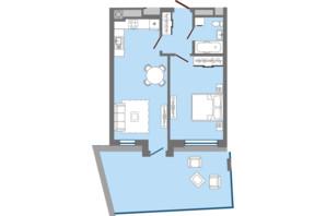 ЖК Greenville Park Lviv: планировка 1-комнатной квартиры 55.64 м²