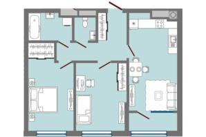 ЖК Greenville Park Lviv: планировка 2-комнатной квартиры 70.25 м²