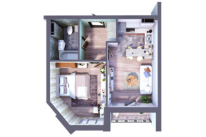 ЖК Greenville на Печерске: планировка 1-комнатной квартиры 46.76 м²