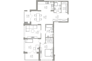 ЖК Greenville на Печерске: планировка 3-комнатной квартиры 106.31 м²